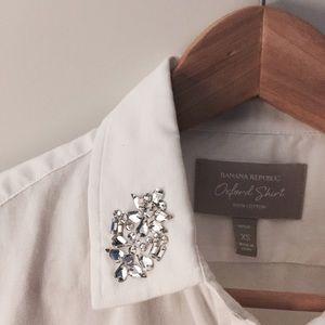 Banana Republic Crystal Collar Oxford Shirt