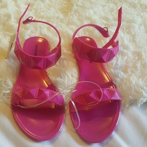 Rebecca minkoff jelly studded hot pink sandals