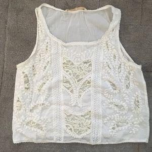 Zara white crochet detail top