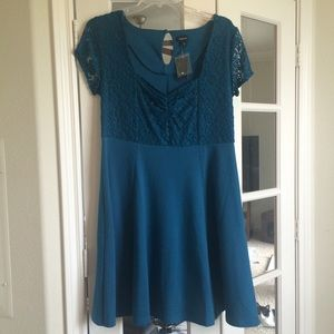 Torrid Teal and Lace Dress Size 1