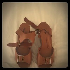 Gap leather wedge sandals