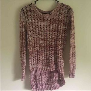 Pink and white crochet sweater