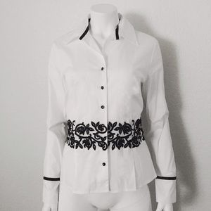 Tops - White Collar Button Down Top and Black Embroidery