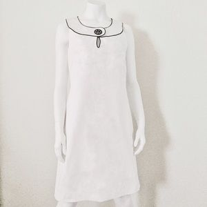 White Dress with Black Piping and Black Button