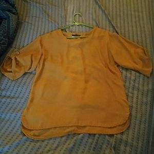 Elvi Tops - Pretty mustard colored hi lo shirt