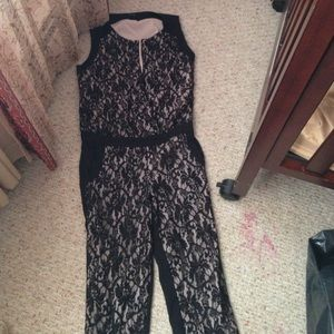Black lace jumper suit
