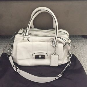Coach leather satchel in Chalk