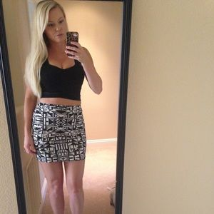 Bodycon Mini Skirt - Geometric