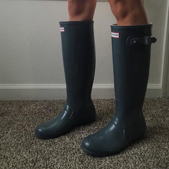 d5e7c3baf16 Hunter Original Tall Gloss Rain Boots in Gray