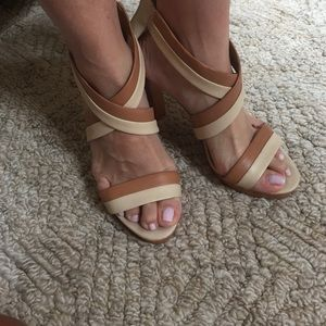 Two toned Coach strappy sandals wood heel w/zip