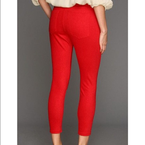 631738b273bd0d HUE Pants | Red Crop Jean Leggings M Skimmer | Poshmark