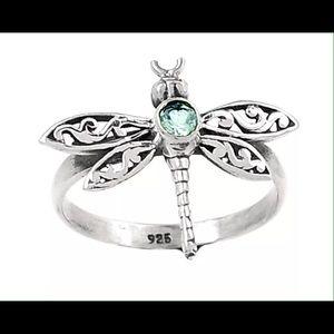 Blue Topaz Dragonfly Ring