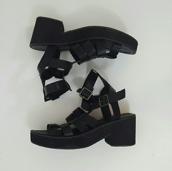 135d70d6219 Asos Shoes - 90s style black chunky strappy gladiator sandals 9