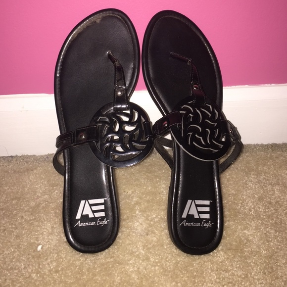 0197a350376 American Eagle by Payless Shoes - Black American Eagle Tory Burch Inspired  Sandals