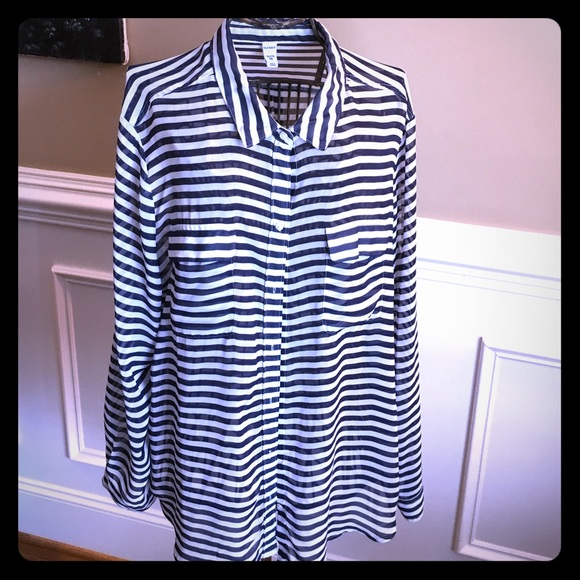 Old Navy Tops Xxl Nautical Navy Stripe Sheer Shirt Old