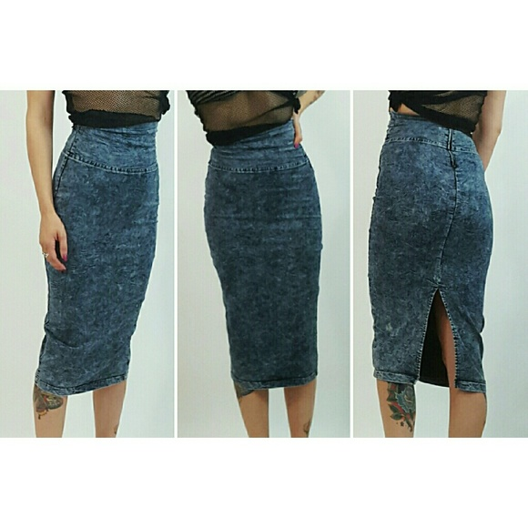 47% off Nasty Gal Dresses & Skirts - SOLD Stretch denim midi skirt ...