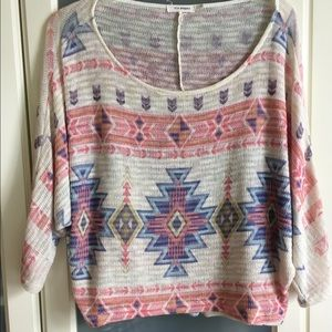tribal patterned soft knit sweater