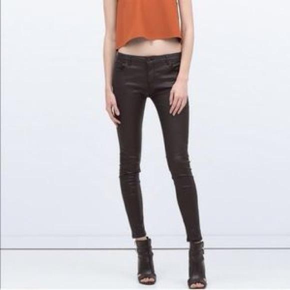 zara coated skinny jeans super jeans in dieser saison. Black Bedroom Furniture Sets. Home Design Ideas