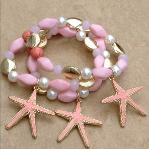 Gold Tone Pink Enamel Starfish Set of 3 Bracelets