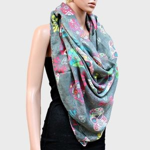 Accessories - SUGAR SKULLS BLANKET SCARF DAY OF THE DEAD WRAP