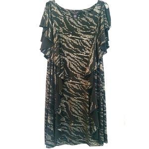 Robbie Bee Dresses & Skirts - Robbie Bee 20W Black Dress with Vertical Ruffles