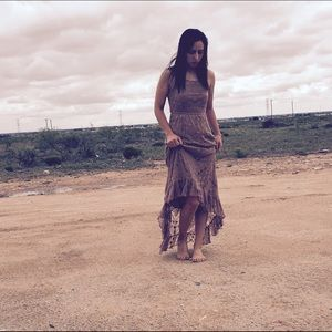 Tan lace boho dress