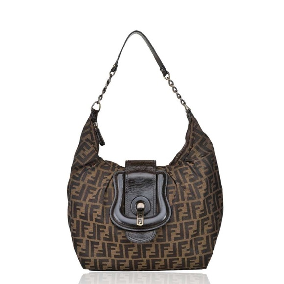 1b64f349b801 Fendi Handbags - Fendi Canvas Zucca Monogram  B  Buckle Hobo Bag