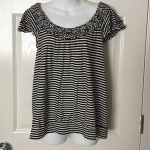 Elle Tops - Striped black and white shirt