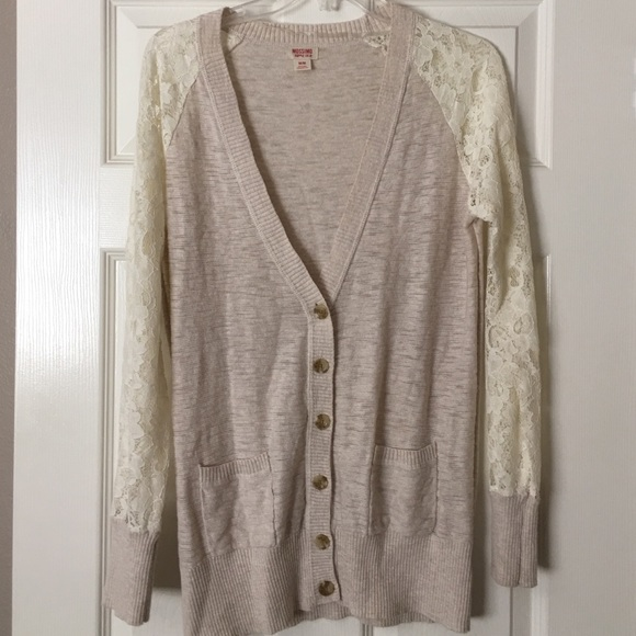 Mossimo Supply Co. - Cream/off white cardigan with lace sleeves ...