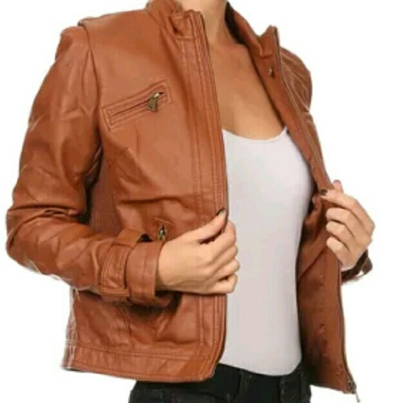 a2a4e1263 Therapy Cognac Faux Leather Jacket NWT
