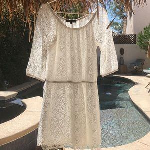 White Lace On/Off Shoulder Dress, sz L