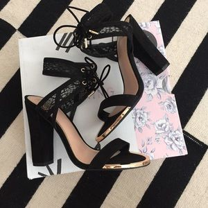 Call It Spring Shoes - Disney Call It Spring black faux suede & lace heel