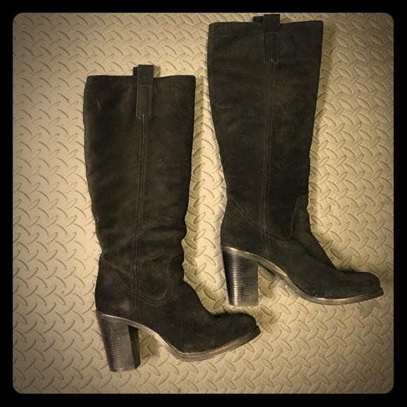 bcbgeneration bcbg morch black suede heeled boots 7m