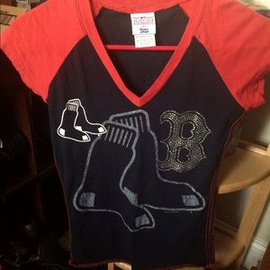 Tops - NWOT BOSTON REDSOX BLING TEE SMALL
