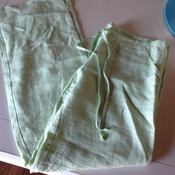 Pants - Mint green linen pants