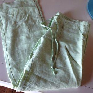 Mint green linen pants