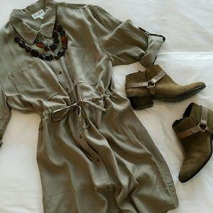 love Fire Dresses & Skirts - Khaki shirt dress