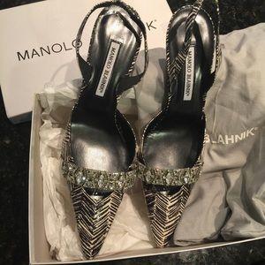 Manolo Blahnik Shoes - 💐HP💐Manolo Blahnik limit crystal sling back