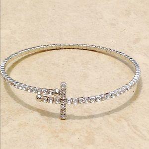 Silver Tone Crystal Sideways Cross Flexible Bangle
