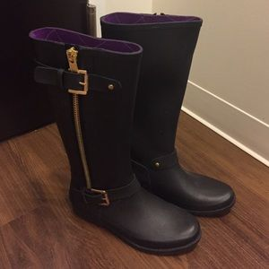 Like new Henry Ferrera black/ gold rain boots