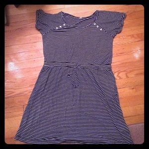 J.Crew navy and white striped dress size large