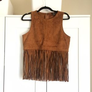 Forever 21 Tops - tan suede fringe boho festival sexy country vest