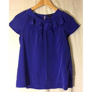 J Crew 100% silk blouse with bow detail
