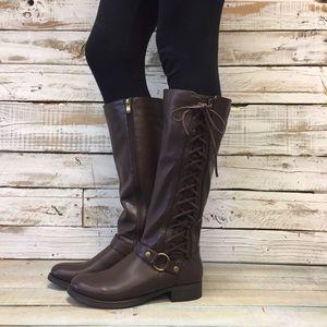 Real leather boots  lace up boots brown NEW size6
