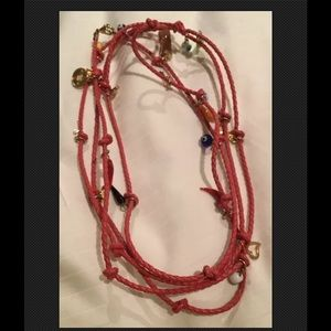 """Jewelry - Red Braided Leather Charm Necklace 38"""""""