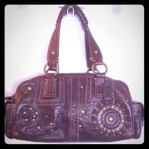 COACH Mia Tobacco Brown Leather Satchel