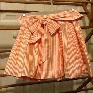 Juniors XS Orange & White Stripe Mini Skirt