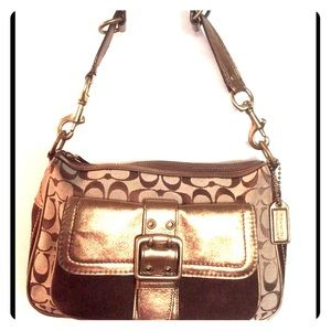 COACH Bronze Metallic Signature Medium Bag