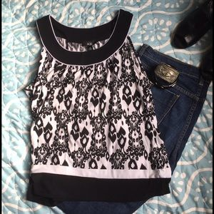 AGB Tops - Black and White Tank Blouse