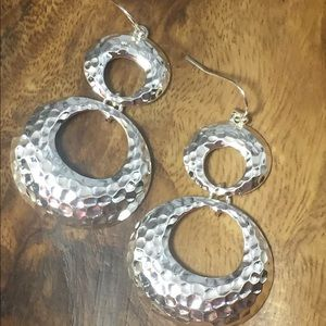 Jewelry - Bright Hammered Silver Double Circle Earrings